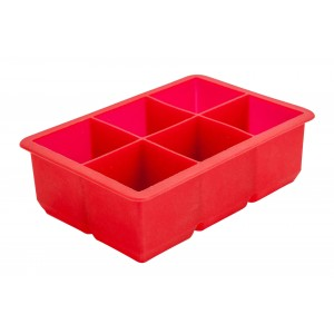 6 Cavity Red Silicone Ice Cube Mould