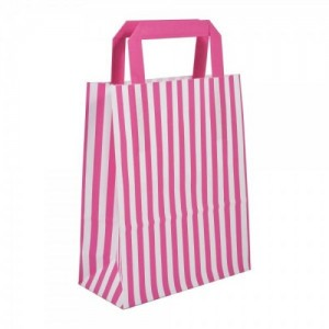 Pink Striped Flat Handled Paper Bags