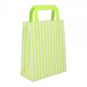 Large Green Striped Flat Handled Paper Bags