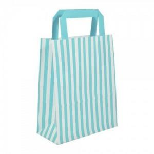 Aqua Blue Striped Flat Handled Paper Bags