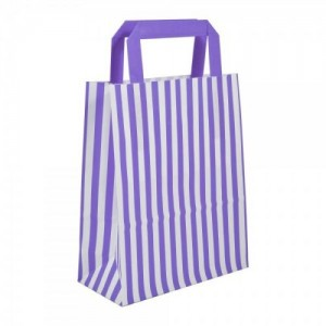 Purple Striped Flat Handled Paper Bags