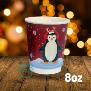 8oz Christmas Paper Coffee Cups NEW DESIGN