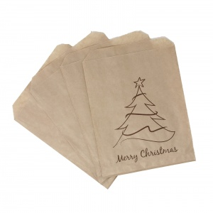 Kraft Brown Merry Christmas Design Paper Bags